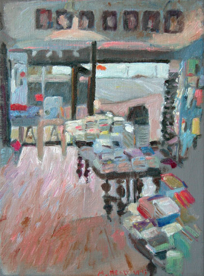 De boekwinkel, olieverf op linnen, 30x40 cm, klein bestand
