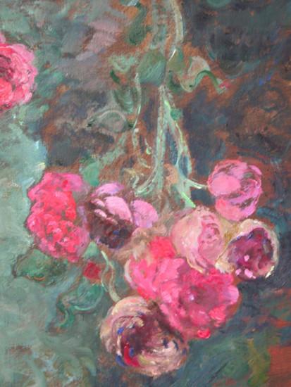 tros uitbloeiende rozen buiten, detail, site